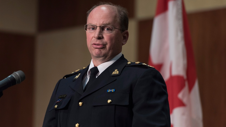 Superintendent Derek Williams talks about the RCMP's investigation of the Humboldt bus crash during a press conference at RCMP Depot in Regina on Friday, July 6, 2018. (Michael Bell / THE CANADIAN PRESS)