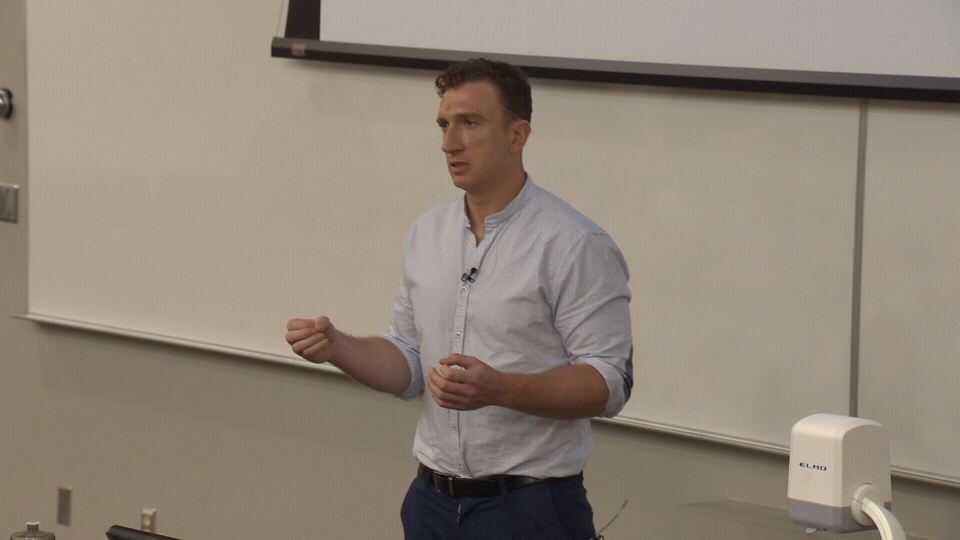 Brock McGillis speaks at The Hockey Conference in Edmonton on Friday, July 6, 2018.