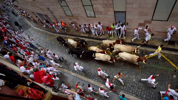 One person gored on opening day of Pamplona bull runs