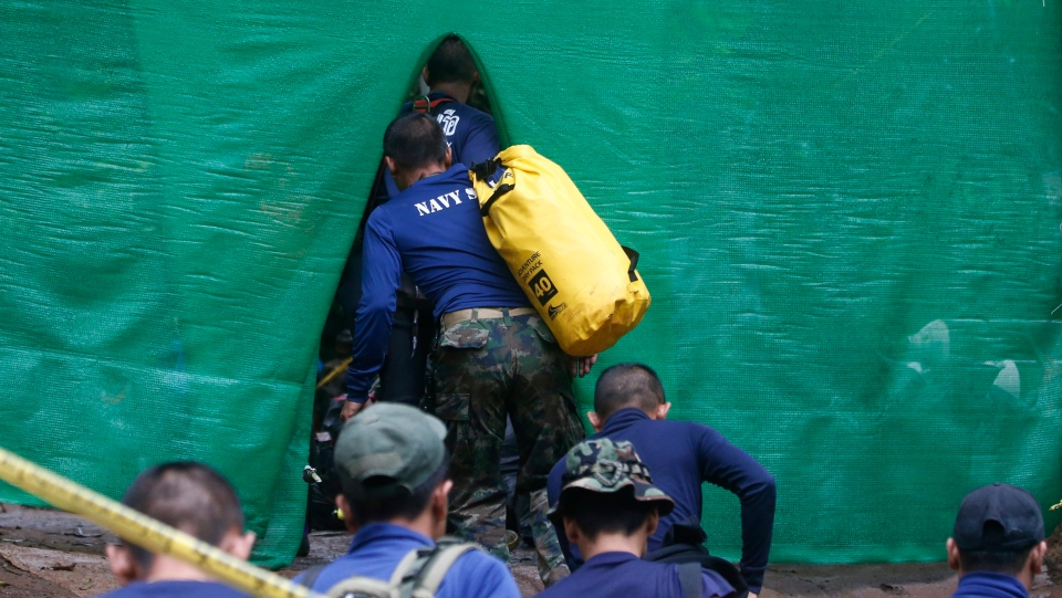 Rescuers arrive near site of Thailand cave