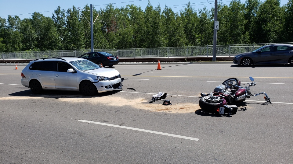 WRPS responded to a two-vehicle collision involving a car and a motorcycle Sunday afternoon in Kitchener.