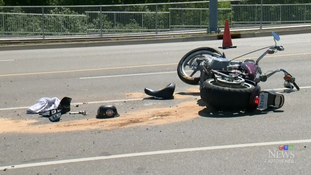 Motorcyclist hospitalized after two-vehicle crash | CTV News
