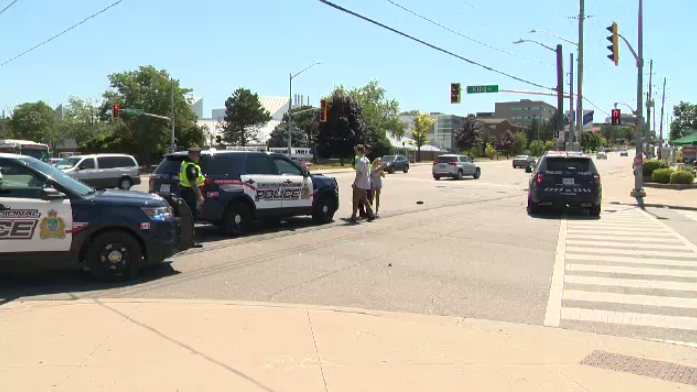 Police say the male driver of a motorcycle fled the scene after a collision.