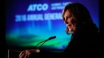 Nancy Southern, president and CEO of ATCO, addresses the company's annual meeting in Calgary, Wednesday, May 11, 2016.THE CANADIAN PRESS/Jeff McIntosh