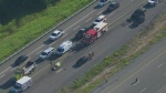 A male motorcyclist is dead following a collision on Highway 407 in Pickering.