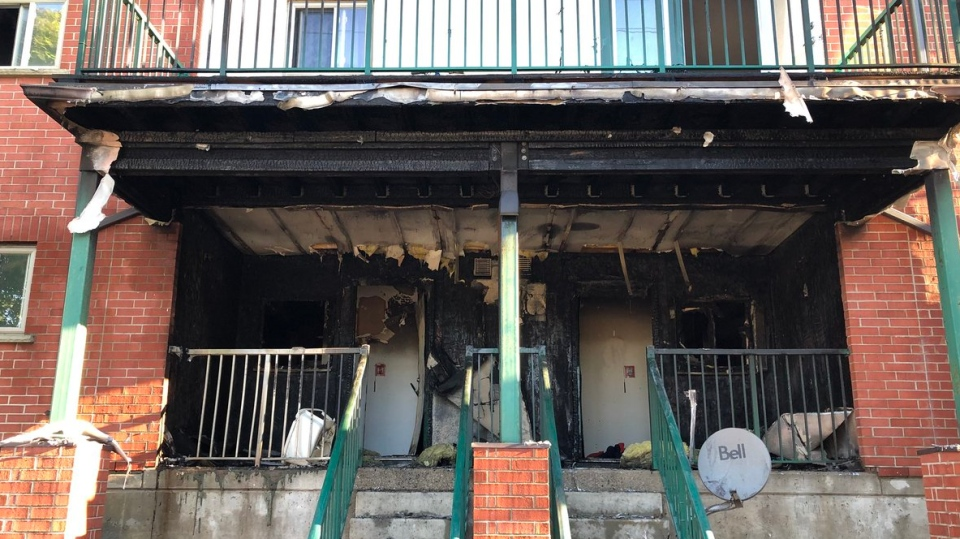 Damage from a fire at a housing complex on King Street in downtown London on Monday July 9, 2018. (Justin Zadorsky / CTV London)