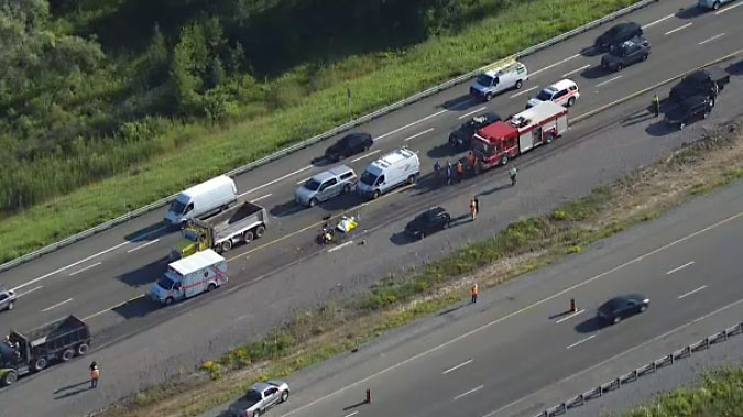 Motorcyclist, 38, dead after crash involving dump truck on Hwy  407