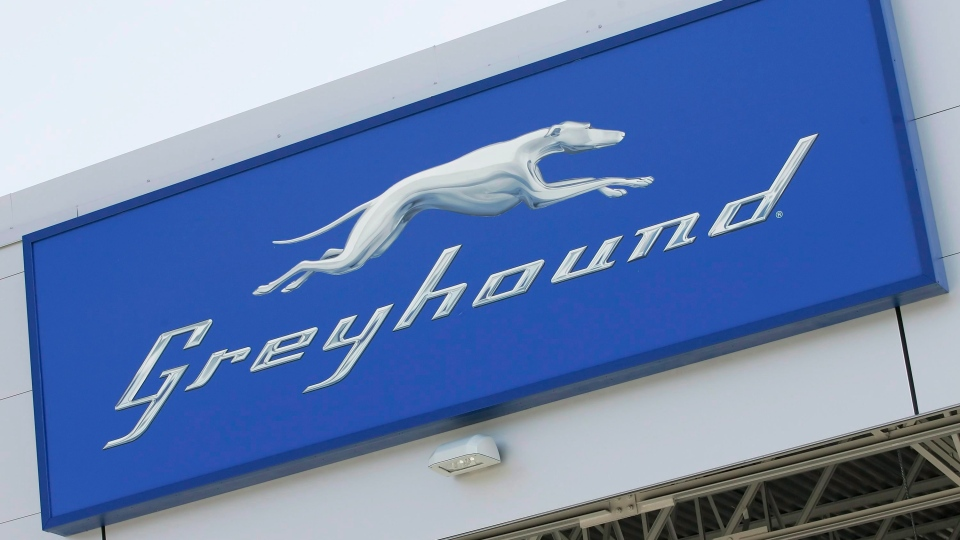 A Greyhound logo at the newly opened Greyhound Terminal at the James Richardson International Airport in Winnipeg on September 3, 2009. (THE CANADIAN PRESS/John Woods)