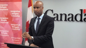 Ahmed Hussen, the federal minister of Immigration, Refugees and Citizenship, speaks during a press conference in Halifax on Monday, July 9, 2018. THE CANADIAN PRESS/Michael Tutton