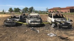 Charred vehicles sit in a field in Niagara-on-the-Lake after a grass fire destroyed dozens of vehicles during a festival. (Sean Leathong/CTV News Toronto)