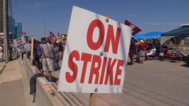 Goderich salt mine strike (Scott Miller/CTV)