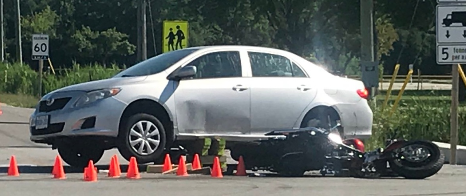 Townline Road closes from Howard to Villanova HS from a fatal crash involving a motorcycle on Monday, July 09, 2018. ( Rich Garton / CTV Windsor )