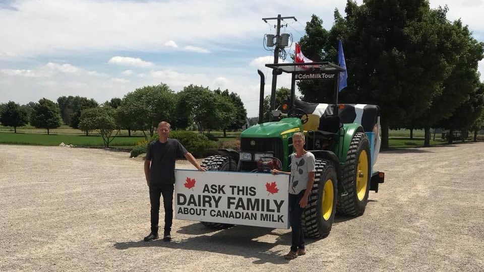 Henk and Bettina Schuurmans, who were touring Canada in a tractor as part of an effort to promote the country's dairy industry, were involved in a crash Monday, July 9, 2018, on Saskatchewan's Highway 16. Their tractor collided with a semi. Bettina was killed in the crash and Henk was sent to hospital. (Facebook/Milky Wave Inc)