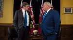 Ontario Premier Doug Ford and Toronto Mayor John Tory meet inside the Premier's office at Queen's Park in Toronto on Monday, July 9, 2018. (THE CANADIAN PRESS/Tijana Martin)