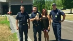 Firefighters rescue puppy from chair