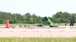 Wreckage sits on Highway 16 between Saskatoon and Langham after a semi and a tractor crashed Monday, July 9, 2018.