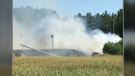 A road in Wellington County had to be closed after a collision and a grass fire on Monday.