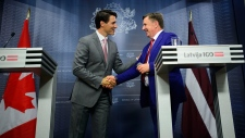 Prime Minister Justin Trudeau with Latvian PM