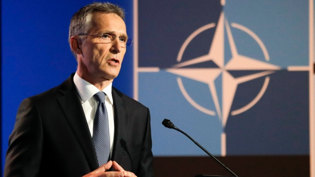 NATO Secretary General Jens Stoltenberg speaks during a media conference at NATO headquarters on the eve of a summit of the NATO heads of state and governments in Brussels on Tuesday, July 10, 2018. (AP Photo/Markus Schreiber)