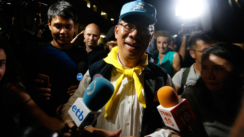 Chiang Rai province acting Gov. Narongsak Osatanakorn, who is leading the ongoing rescue operation of the soccer team and coach trapped in a flooded cave, talks to media during a press conference in Mae Sai, Chiang Rai province, northern Thailand, Tuesday, July 10, 2018. (AP / Sakchai Lalit)