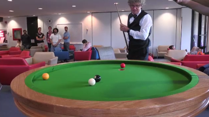The University of Waterloo's math department has built the first elliptical pool table of its kind in North America.