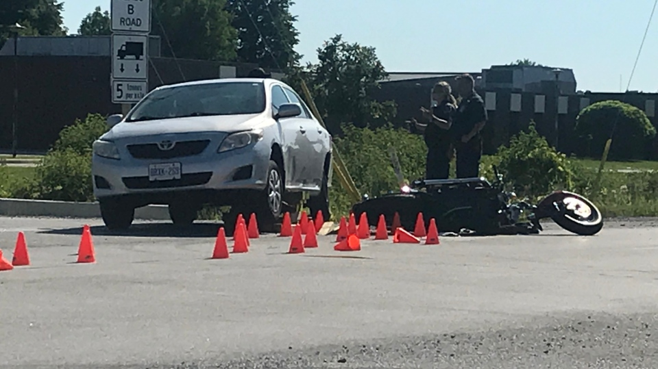 Fatal motorcycle accident in Amherstburg on July 9, 2018. (Rich Garton / CTV Windsor)
