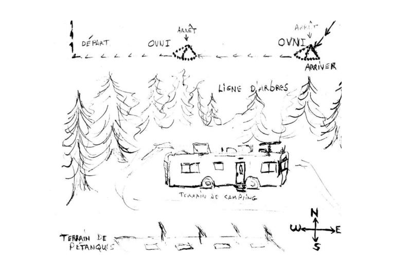 A UFO sighting at a Quebec campsite in 2017 is illustrated in this drawing submitted by witnesses. (Source: 2017 Canadian UFO Survey)