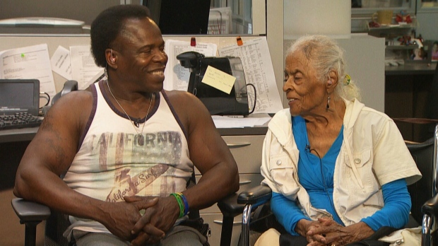 Fitness trainer Valentine Payne and Winnie Clements, 96, speak to CTV News Channel from Winnipeg, on Tuesday, July 10, 2018.