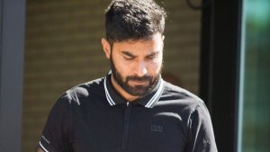 Truck driver Jaskirat Sidhu walks out of provincial court after appearing for charges due to the Humboldt Broncos bus crash in Melfort, Sask., on Tuesday, July 10, 2018. THE CANADIAN PRESS/Kayle Neis