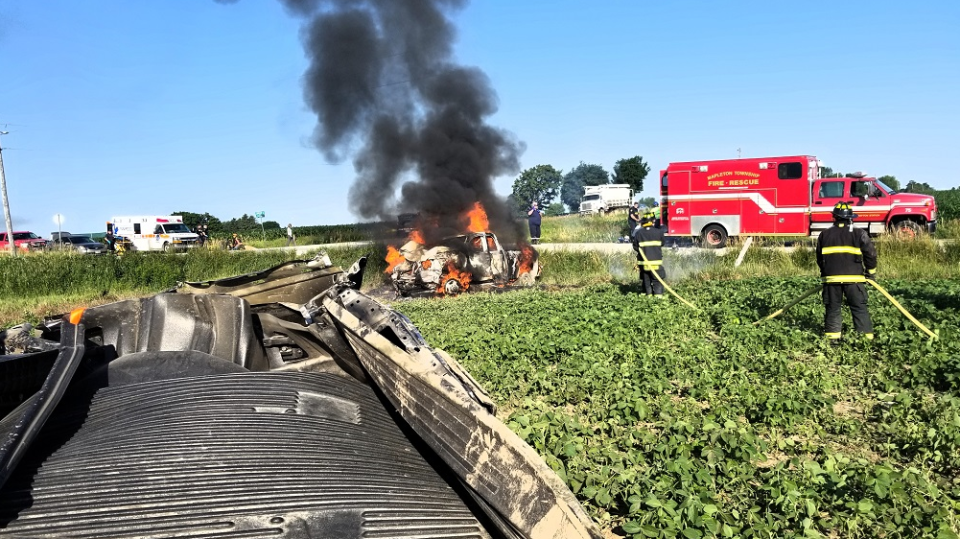 Emergency crews respond to a crash at Concession 16 & Sideroad 15, west of Arthur. (Courtesy: OPP)