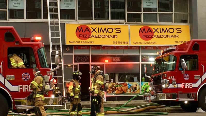 A fire broke out at a commercial building on Jasper Avenue and 117 Street early Wednesday morning.