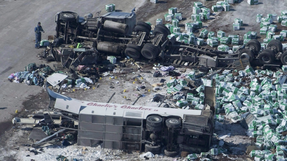 The Saskatchewan government is introducing mandatory training for semi-truck drivers almost eight months after the Humboldt Broncos bus crash. (THE CANADIAN PRESS/Jonathan Hayward)