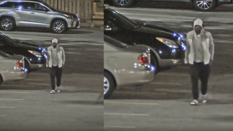 A suspect wanted in connection with the fatal shooting of 25-year-old Karim Hirani at a North York complex courtyard. (Toronto police handout)