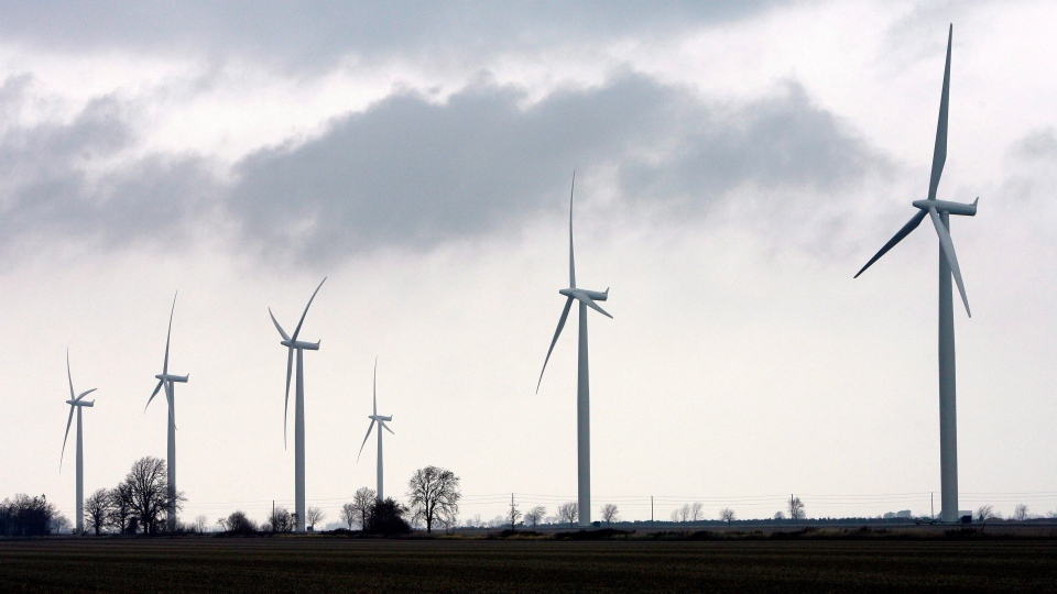In this file photo, wind turbines are shown at the opening of a 44-turbine wind farm near Port Alma, Ontario, near the shores of Lake Erie, Thursday, November 13, 2008. (THE CANADIAN PRESS / Dave Chidley)
