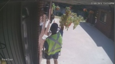 A security camera caught the mailman snacking on the produce.
