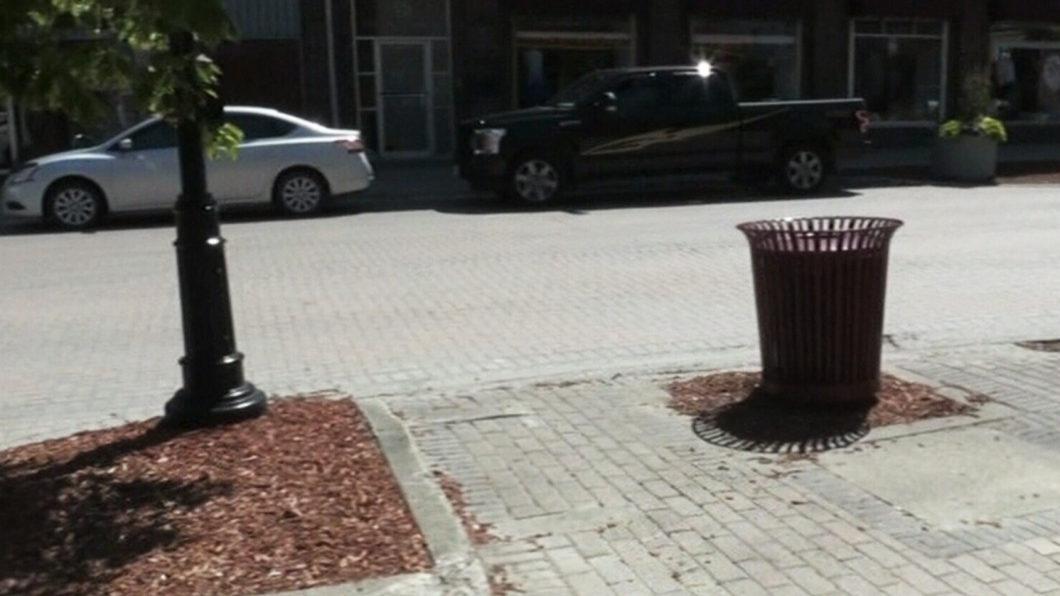 Benches were removed from this spot in downtown Timmins, Ont.