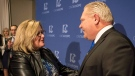 A March 10, 2018 file photo showing Doug Ford being congratulated by Lisa Thompson  after Ford was named as the newly elected leader of the Ontario Progressive Conservatives. THE CANADIAN PRESS/Chris Young