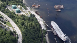 A aerial view of Kinder Morgan's Trans Mountain marine terminal, in Burnaby, B.C., is shown on Tuesday, May 29, 2018. (THE CANADIAN PRESS / Jonathan Hayward)