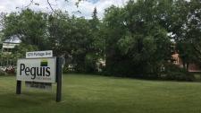 Peguis sign on Portage Avenue