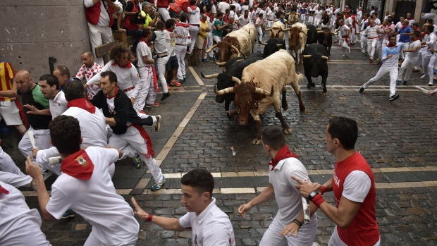 Running of the bulls at the San Fermin Festival