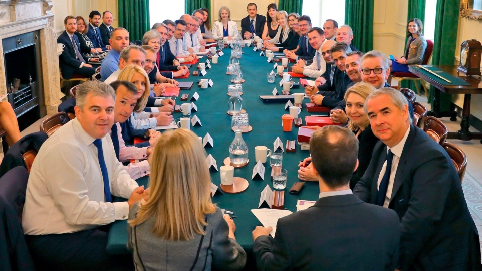 A Cabinet meeting can be seen in London on Tuesday, July 10, 2018. (Downing Street)