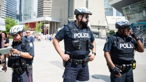 Police are seen in Toronto