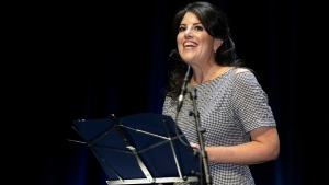 """In this June 25, 2015, file photo, Monica Lewinsky attends the Cannes Lions 2015, International Advertising Festival in Cannes, southern France. A magazine apologized to Lewinsky after she said she was disinvited to an event because former President Bill Clinton was attending. Town & Country on Thursday, May 10, 2018, tweeted it regretted """"the way the situation was handled."""" The magazine held its annual Philanthropy Summit in New York City on Wednesday. (AP Photo/Lionel Cironneau, File)"""