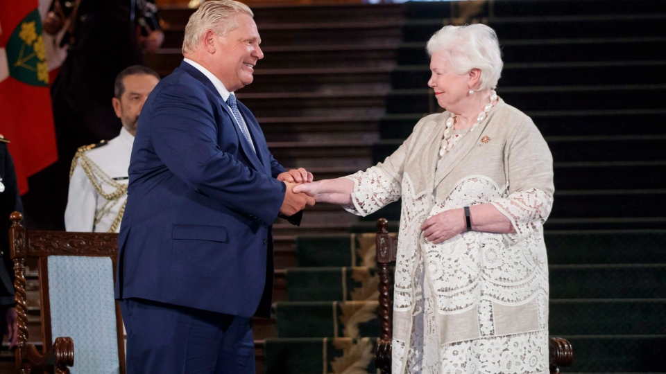 Doug Ford shakes hands with Lt.-Gov. Elizabeth Dowdeswell as he is sworn in as premier of Ontario during a ceremony at Queen's Park in Toronto on Friday, June 29, 2018. (THE CANADIAN PRESS/Mark Blinch)