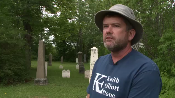 """I find it very peaceful working in a cemetery,"" he said. ""I don't get spooked out or unsettled by it. I find it's very quiet. Nobody complains. It's just, it's nice work,"" says Keith Elliott."