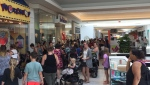 One Twitter user captured a long lineup outside a Build-a-Bear location in Oshawa, Ont.  (Photo: Twitter/@MsRonnieW1)