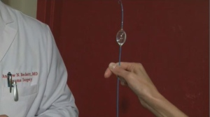 The balloon catheter is threaded up through the femoral artery in the groin, up to the aorta, and as the balloon expands inside the body it acts as an internal tourniquet – stopping bleeding in a minute or less. (CTV Montreal)