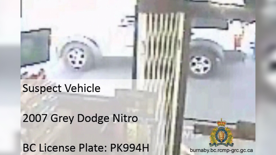 The suspect vehicle in a Burnaby hit-and-run is seen outside a gas station in this image provided by Mounties.