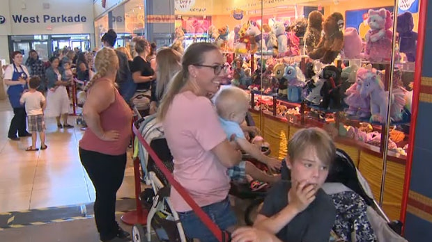 Hundreds of parents lined up for hours as part of Build-A-Bear Workshop's Pay-Your-Age event that allows customers to pay their age as the cost of their stuffed toys.