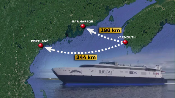 The Yarmouth ferry might have a new U.S. destination, which will shorten its route.
